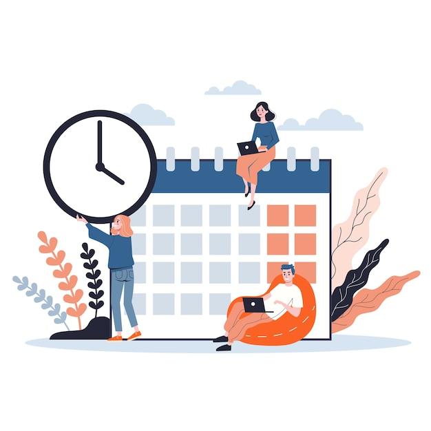 Empresários trabalhando em equipe e planejando. conceito de gerenciamento de tempo. fazendo uma programação semanal. ilustração isométrica Vetor Premium