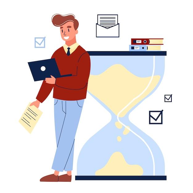 Empresários trabalhando em equipe e planejando tempo Vetor Premium