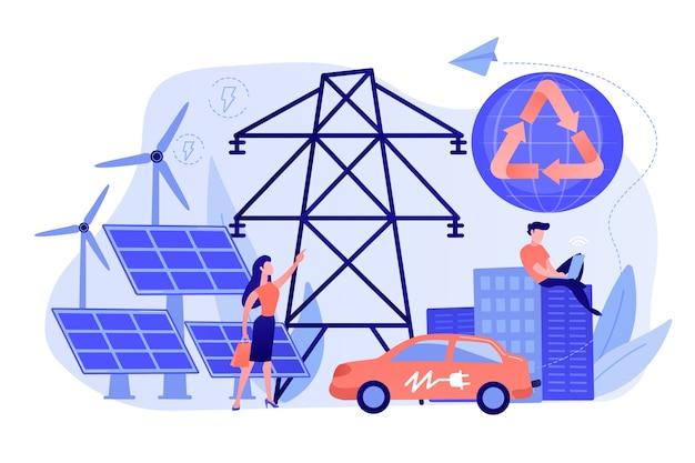 Empresários usam energia elétrica limpa e renovável na cidade Vetor grátis