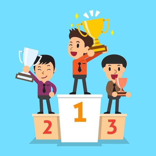 Empresários vencedor em pé em um pódio Vetor Premium