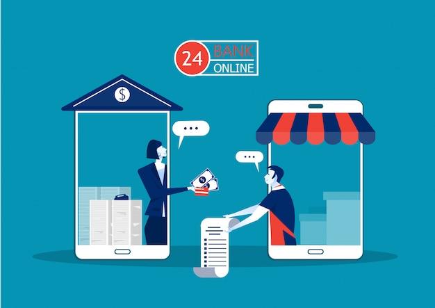 Empréstimo de oferta de negócios através de construção de banco smartphone pagamento on-line para o proprietário da empresa para investimento Vetor Premium