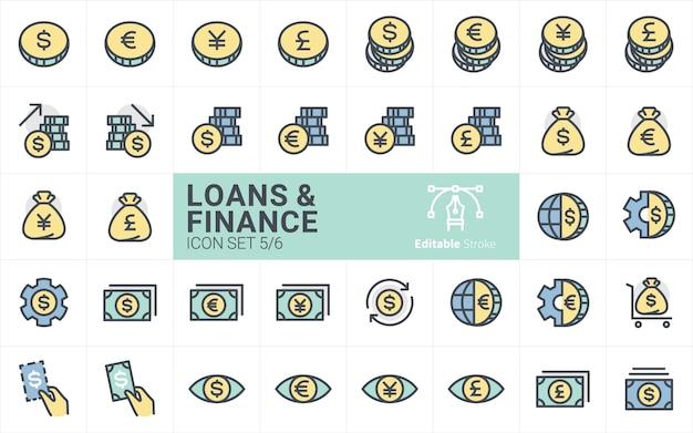 Empréstimos e finanças coleção de ícones com estilo de traçado de contorno vol.5 Vetor Premium