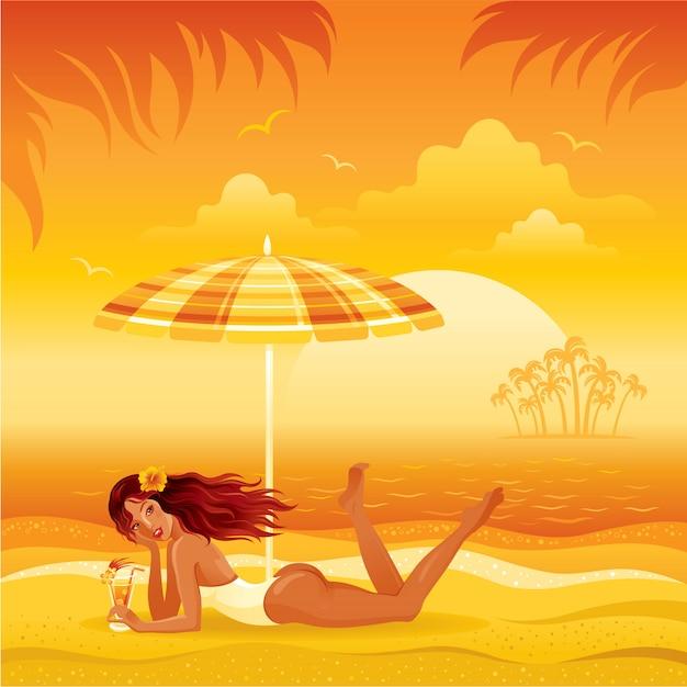 Encalhe a paisagem com a menina bronzeada no biquini que coloca sob o guarda-chuva com cocktail. ilustração de moda verão mulher. Vetor Premium
