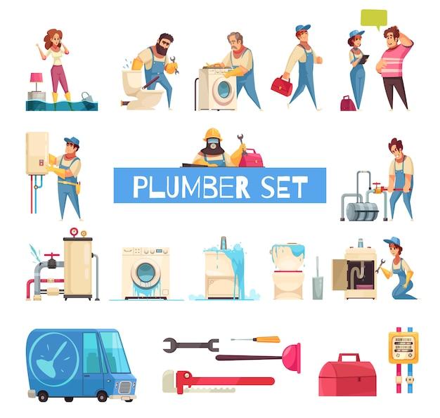 Encanador grande conjunto de desenhos animados com canos estourados reparar instalação de máquina de lavar sanitária de fixação em casa inundada Vetor grátis