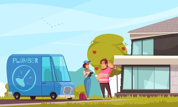 Encanador serviço chegada cartoon composição com cliente ao ar livre sua casa moderna veículo instrumentos saco senhora Vetor grátis