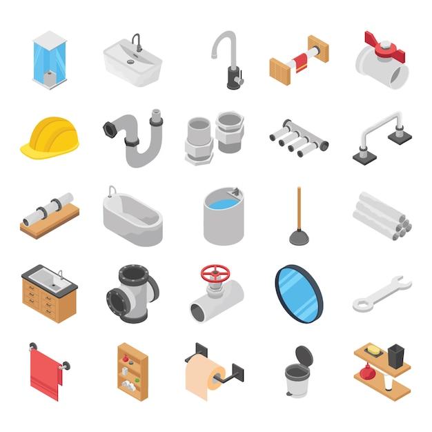 Encanador, vaso sanitário, banho de chuveiro vetores isométricos Vetor Premium