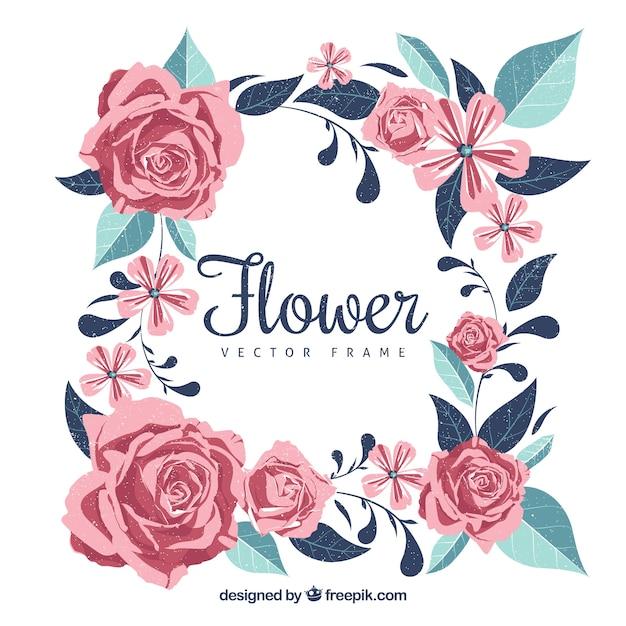 Encantador quadro floral com rosas e folhas Vetor grátis