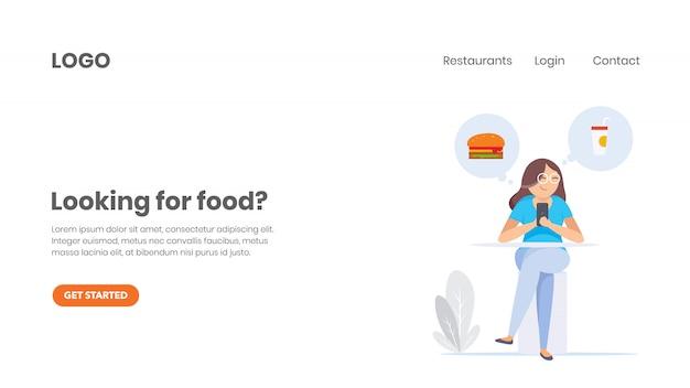 Encomenda de comida online Vetor Premium
