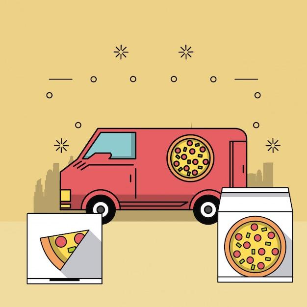 Encomendas e entregas de comida Vetor Premium