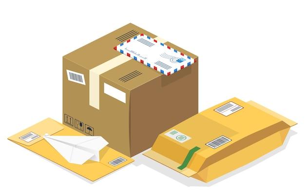 Encomendas postais isométricas, e-mails Vetor grátis
