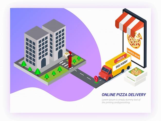 Encomende comida online a partir da aplicação do smartphone. Vetor Premium