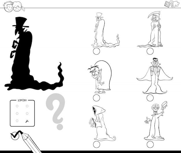 Encontrando a atividade educacional da sombra certa com personagens do halloween Vetor Premium