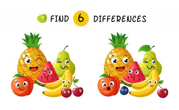 Encontrando diferenças. jogo de crianças com frutas feliz dos desenhos animados. ilustração para livro infantil Vetor Premium