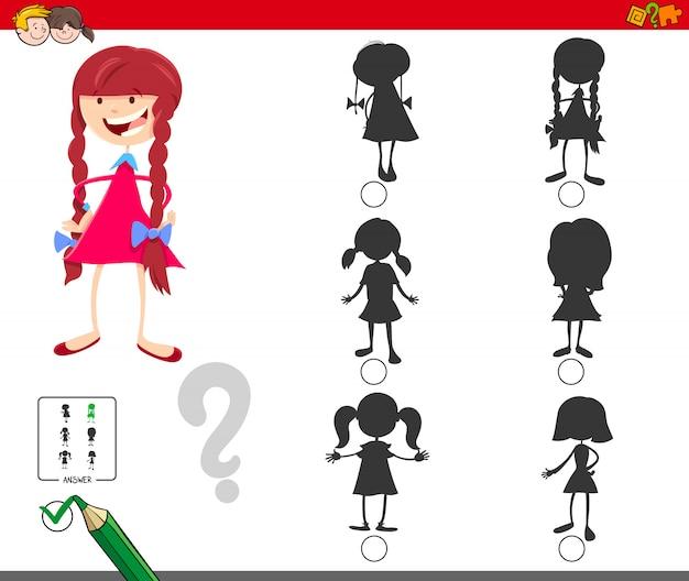 Encontrando o jogo educacional da sombra certa para crianças Vetor Premium
