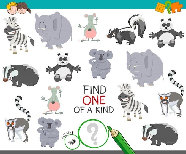 Encontrar um de um jogo de atividade educativa animal Vetor Premium