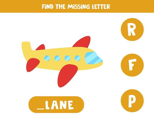 Encontre a carta que falta. avião de desenho animado. jogo educativo de soletração para crianças. Vetor Premium