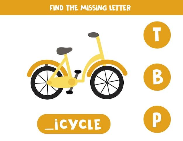 Encontre a carta que falta. bicicleta bonito dos desenhos animados. jogo educativo de soletração para crianças. Vetor Premium