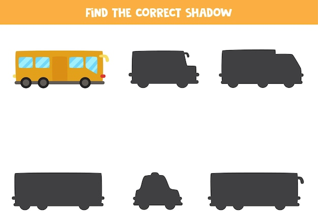 Encontre a sombra correta do ônibus da cidade. quebra-cabeça lógico para crianças. Vetor Premium