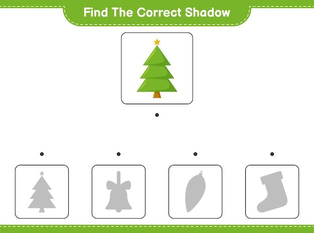 Encontre a sombra correta. encontre e combine a sombra correta da árvore de natal. Vetor Premium