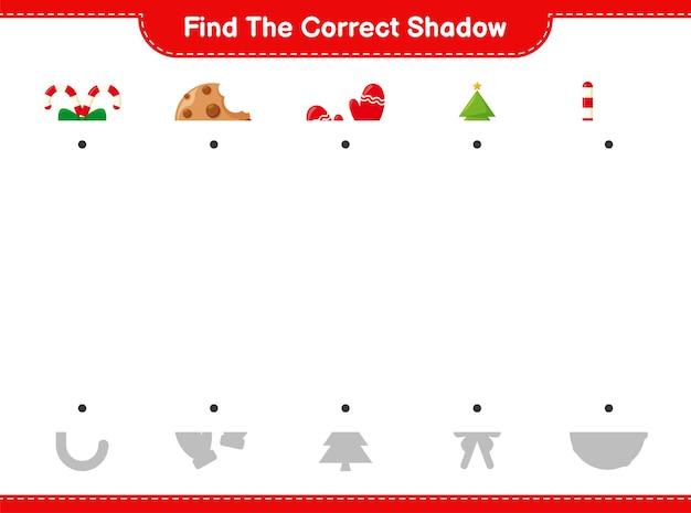 Encontre a sombra correta. encontre e combine a sombra correta da decoração de natal. Vetor Premium