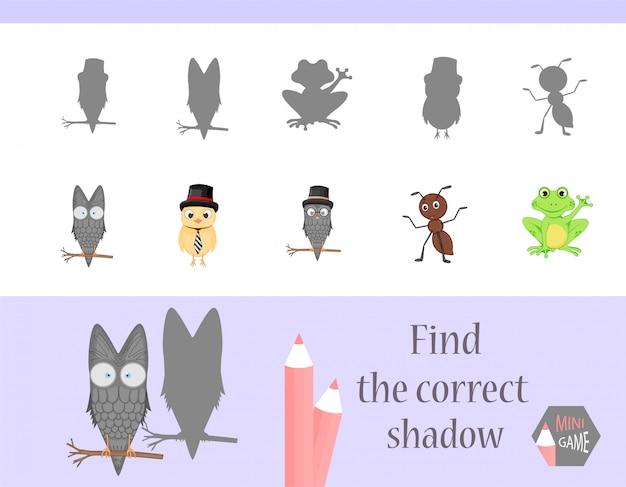 Encontre a sombra correta, jogo educativo para crianças. animais fofos dos desenhos animados e natureza. Vetor Premium