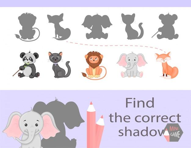 Encontre a sombra correta, jogo educativo para crianças. Vetor Premium