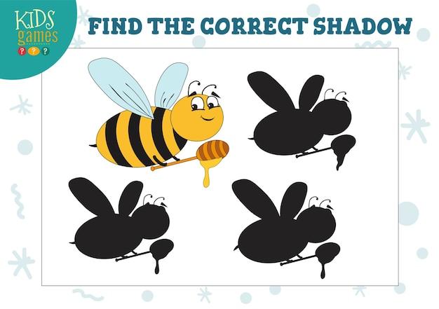 Encontre a sombra correta para a abelha fofa com jogo pré-escolar educacional de mel Vetor Premium