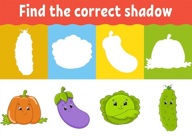 Encontre a sombra correta. planilha de desenvolvimento de educação. jogo de correspondência para crianças. Vetor Premium