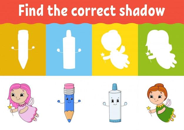 Encontre a sombra correta. Vetor Premium