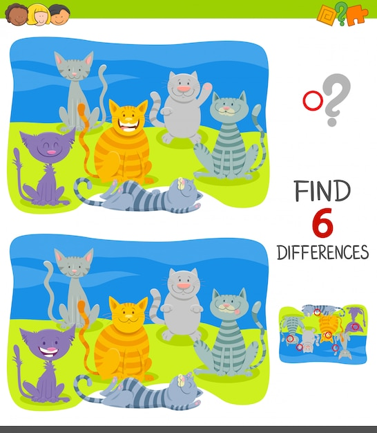Encontre diferenças jogo educativo com gatos Vetor Premium