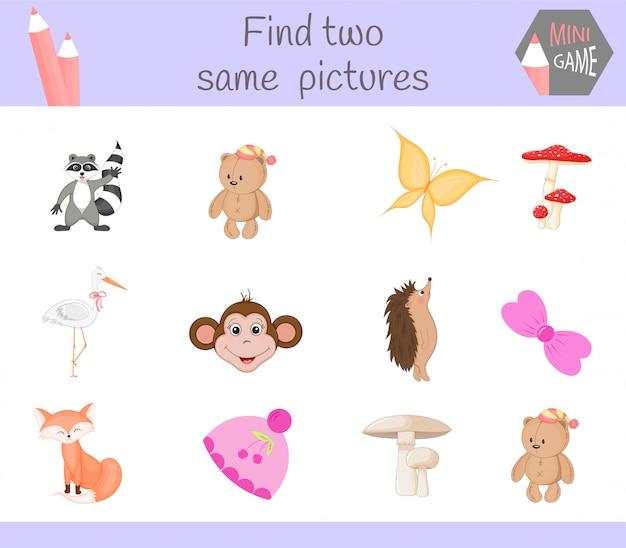 Encontre duas fotos mesmas. ilustração dos desenhos animados atividade educacional para crianças em idade pré-escolar. Vetor Premium