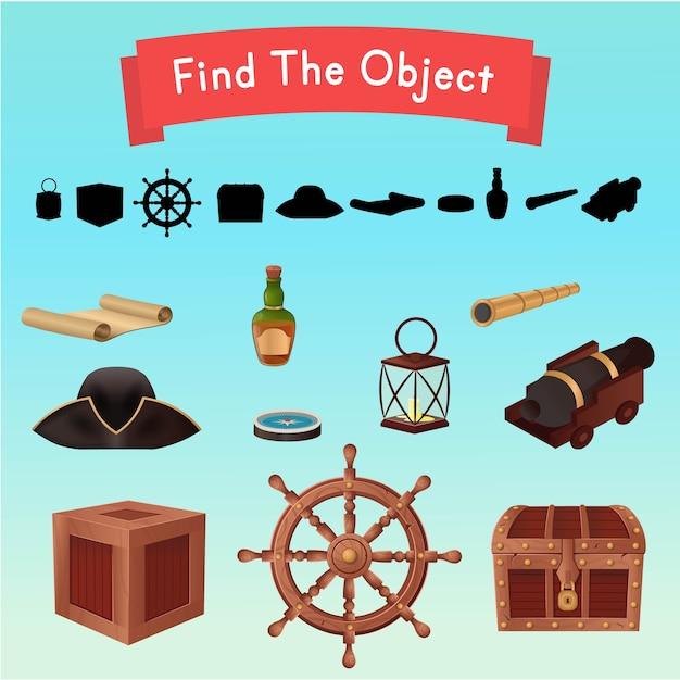 Encontre o objeto. objetos de um navio pirata. ilustração . Vetor Premium