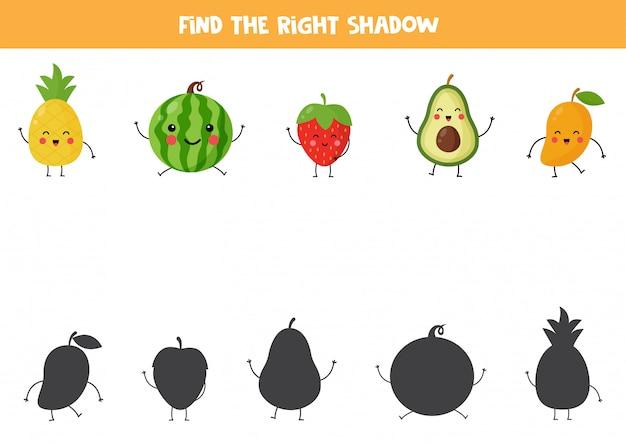Encontre sombras de frutas kawaii fofas. jogo lógico educacional para crianças. planilha imprimível para crianças em idade pré-escolar. Vetor Premium