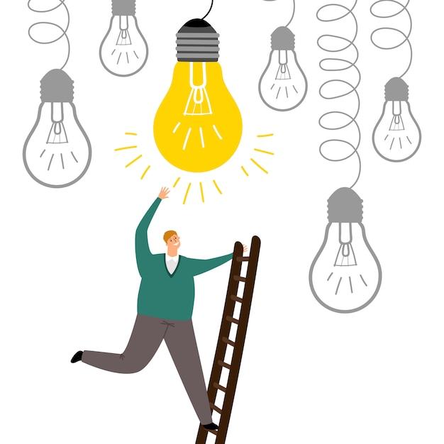 Encontre uma nova ideia. homem intensifica ilustração de escadas Vetor Premium