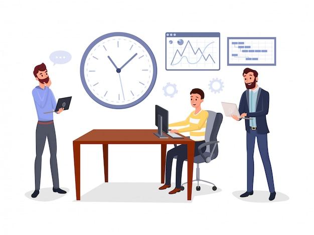 Encontro de negócios de colegas Vetor Premium