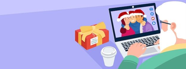 Encontro virtual de natal Vetor Premium