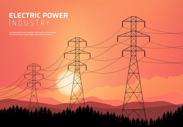 Energética, linha elétrica de transmissão de energia. Vetor Premium