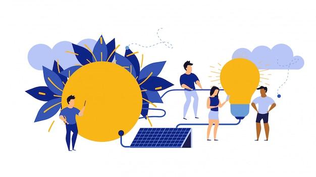 Energia de eco, ambiente limpo da ilustração alternativa da ecologia. Vetor Premium