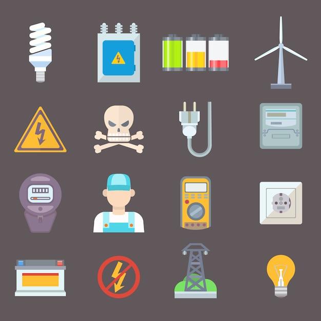 Energia e recursos ícone definir ilustração vetorial Vetor Premium