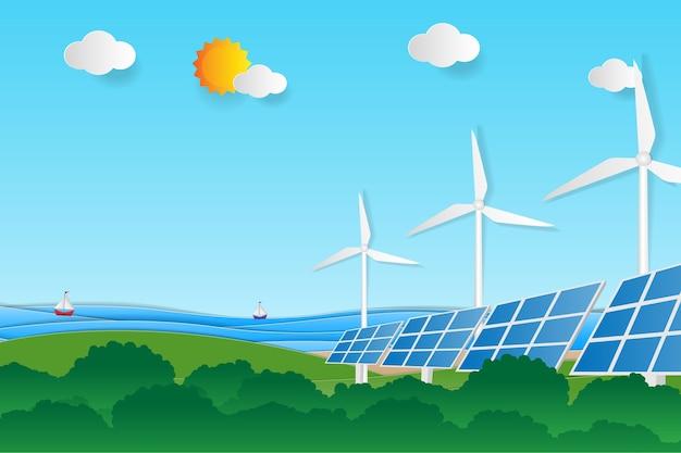 Energia elétrica limpa a partir de fontes renováveis, sol e vento. Vetor Premium