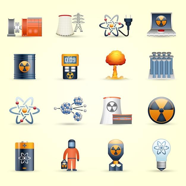 Energia nuclear, ícones, amarela, fundo Vetor grátis