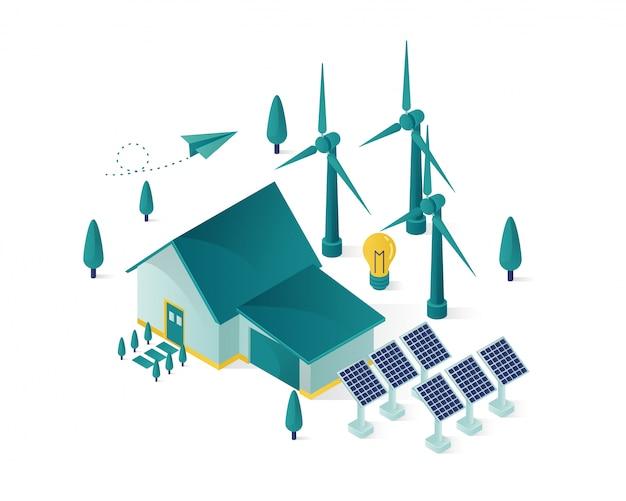 Energia renovável usando painel solar para uma ilustração isométrica de casa Vetor Premium