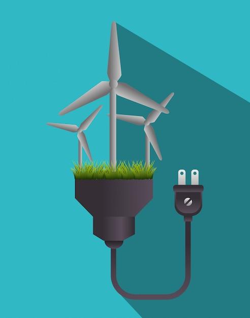 Energia verde e ecologia Vetor grátis
