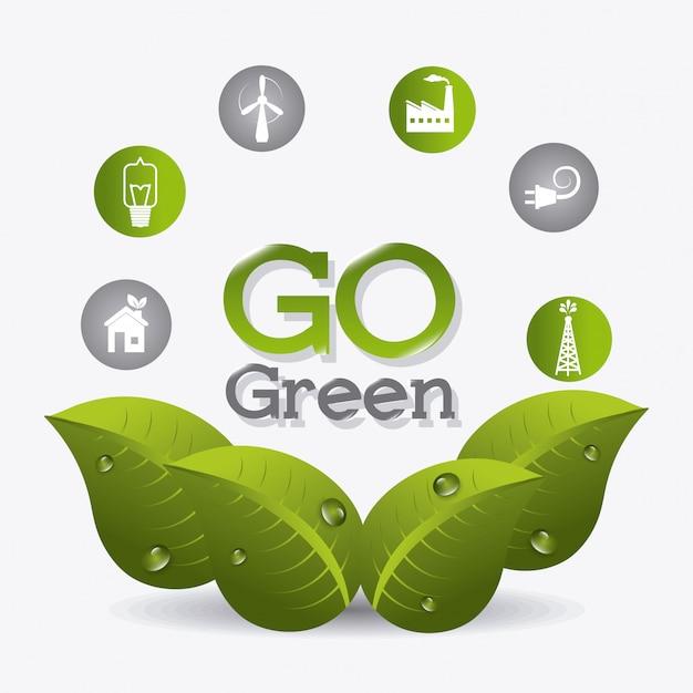 Energia verde e ecologia Vetor Premium