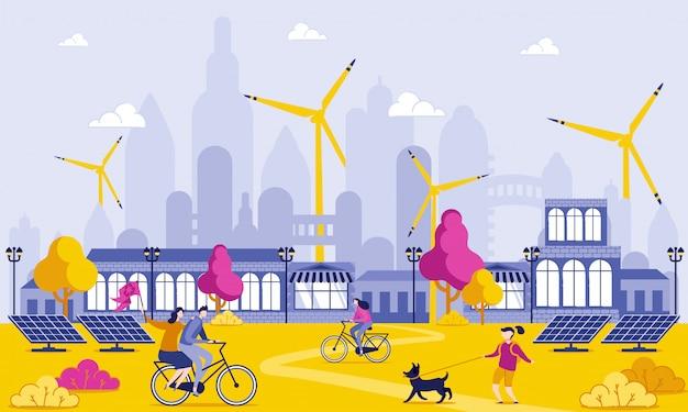 Energia verde na ilustração grande dos desenhos animados da cidade. Vetor Premium