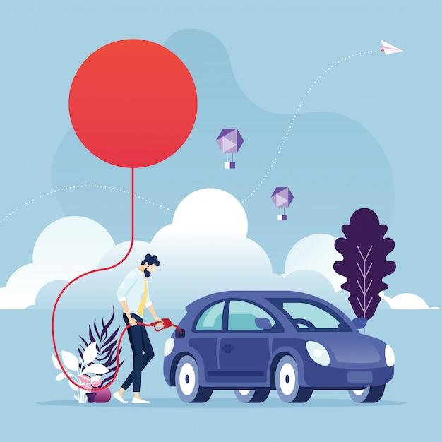 Energias renováveis empresário abastecendo um carro usando a energia do sol Vetor Premium