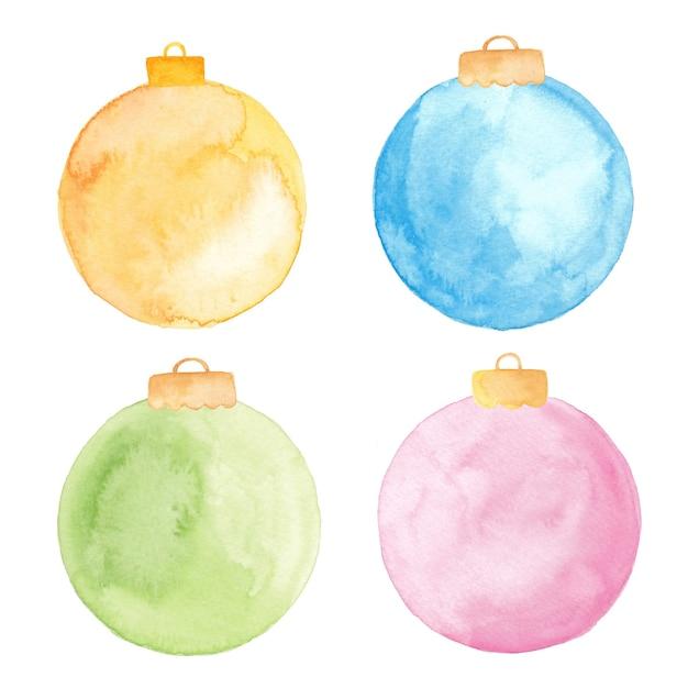 Enfeites de bola de natal em aquarela isolados. conjunto de enfeites de natal pintados. Vetor Premium