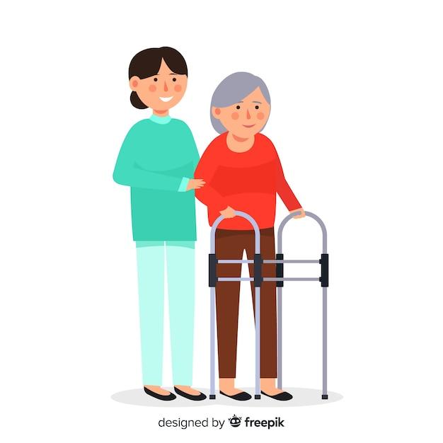 Enfermeira, ajudando o fundo do paciente Vetor grátis