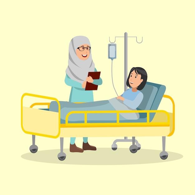 Enfermeira árabe verificando condições paciente ilustração vetorial cartoon Vetor Premium
