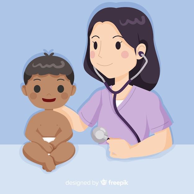 Enfermeira de mão desenhada ajudando o fundo do paciente Vetor grátis